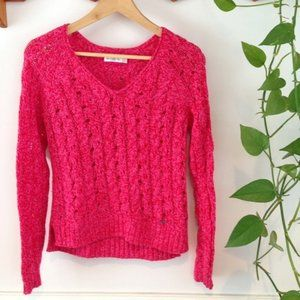 Abercrombie & Fitch Hot Pink Open Knit Sweater